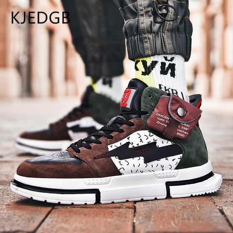 2020 New Genuine Leather Pocket High-top Men Casual Shoes Fashion Sneakers Tide Shoes