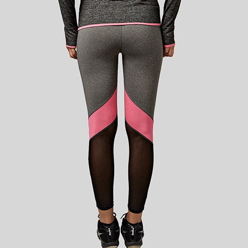 B.BANG Women Yoga Pants Hollow Out  Net Yarn Splicing Yoga Capris for Running Sport Quick-drying Fitness Tights Woman Leggings