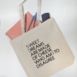 Sweet Dreams Are Made of Cheese Tote Bag/Misheard Song Lyrics/Incorrect Lyrics/Popular Song Lyrics/Funny Lyrics/Canvas Tote Bag