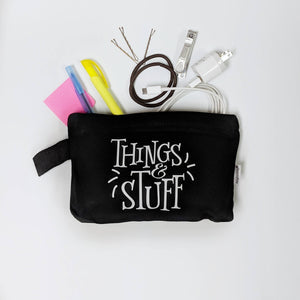 Things and Stuff Canvas Pouch/make up bag/gift for mom/gift for bff/Gifts for her/makeup bag/canvas pouch with zipper/custom bag/pencil bag