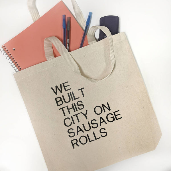 We Built This City On Sausage Rolls Tote Bag/Misheard Song Lyrics/Incorrect Lyrics/Popular Song Lyrics/Funny Lyrics/Canvas Tote Bag