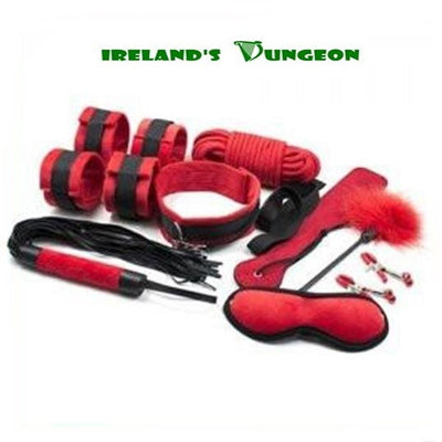 Black And Red Bondage Kit - 9 Pieces - irelandsdungeon Bondage Kits & Bedroom Bondage-bdsm gear