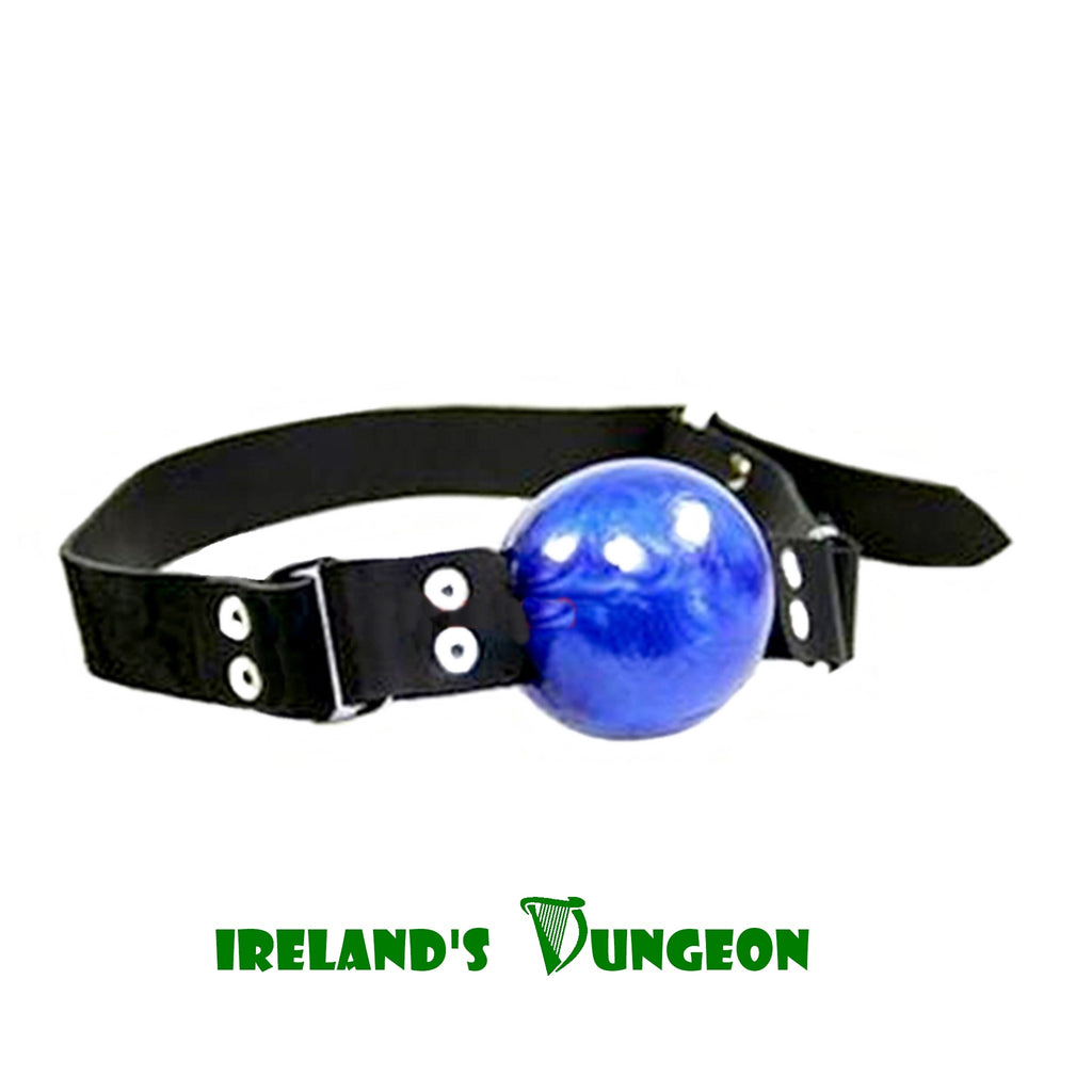 Blue Ball Gag - irelandsdungeon  wedobondage- irelandsdungeon  Bondage Gags-bdsm gear