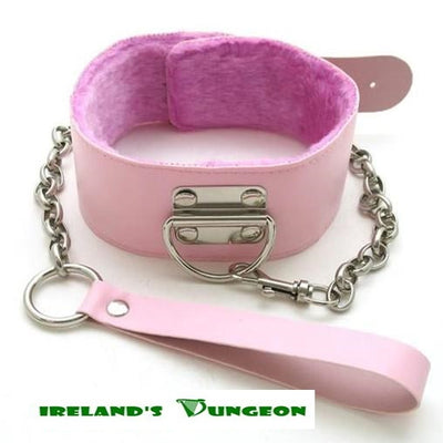 Pink Premium Fur Lined Locking Collar - Irelands Dungeon-