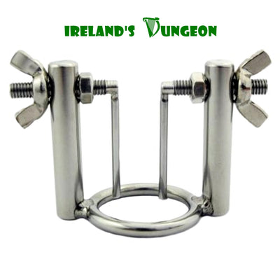 Stainless steel urethral stretcher consisting of ring with 2 bars attached to opposite sides.  A pole drops down from the top of each bar with a opening screw
