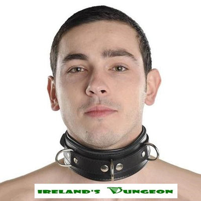 Unisex Padded Strict Leather Locking Collars - Irelands Dungeon