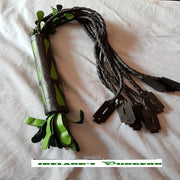 Green and Black Flogger with Plastic Razor Blades - irelandsdungeon  wedobondage- irelandsdungeon  Bondage Floggers-bdsm gear