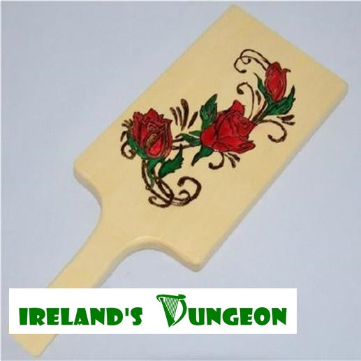 Hand Burned BDSM Roses Wooden Bondage Paddle - irelandsdungeon  wedobondage- irelandsdungeon  Wooden Spanking Paddles-bdsm gear