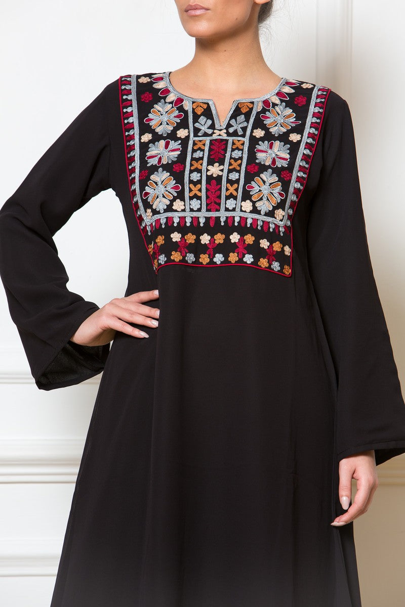 Afghan Embroidered Black Dress