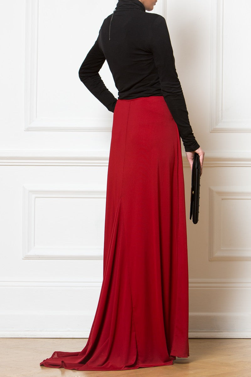 Deep Red Maxi Skirt