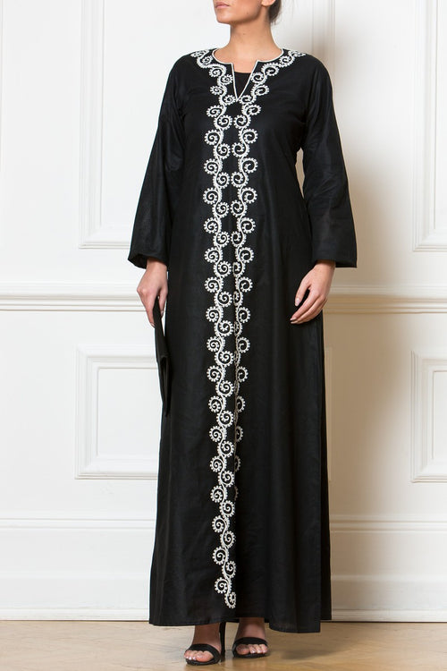 Maxi Black Embroidered Dress