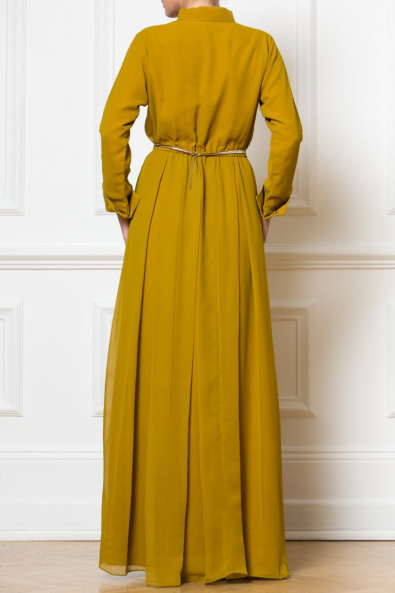 Maxi Golden Chiffon Dress