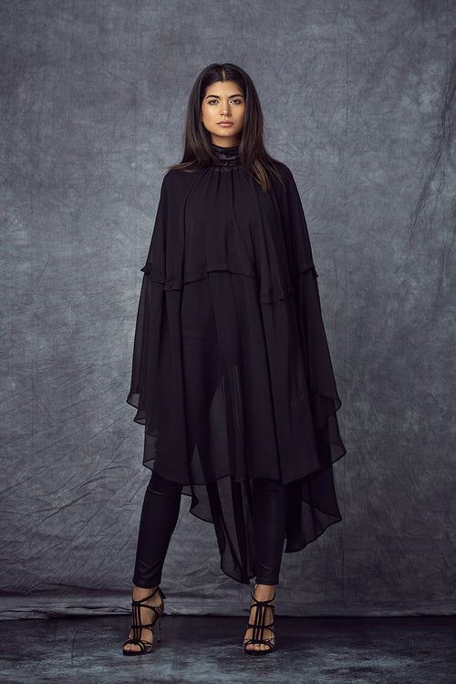 Velvet-Trimmed Black Cape