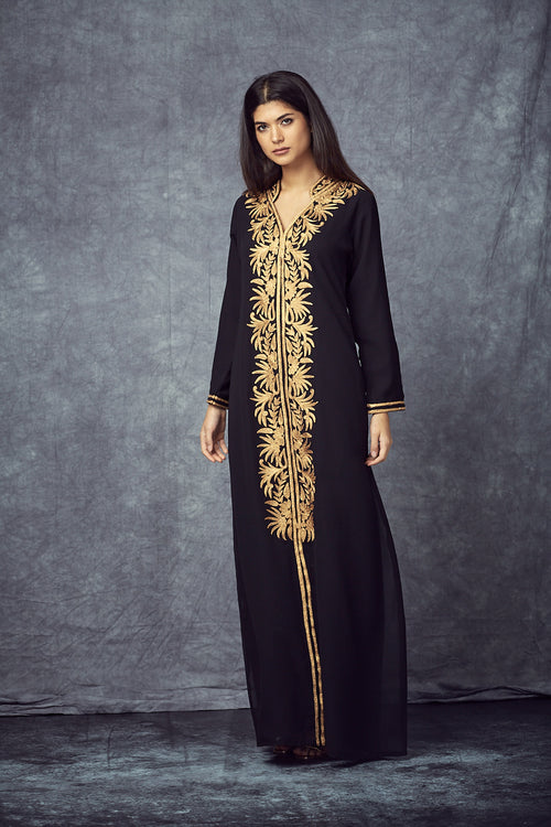 Gold Embroidered Black Gown