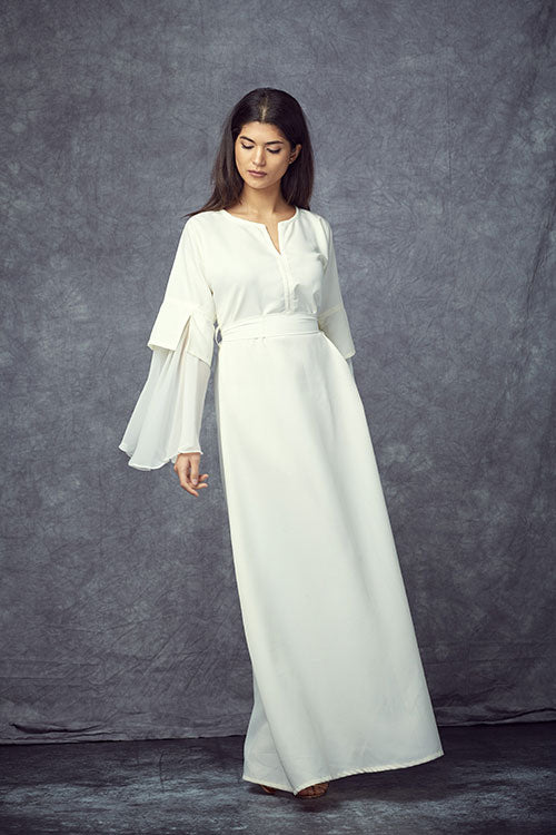 Ruffled Maxi White Dress