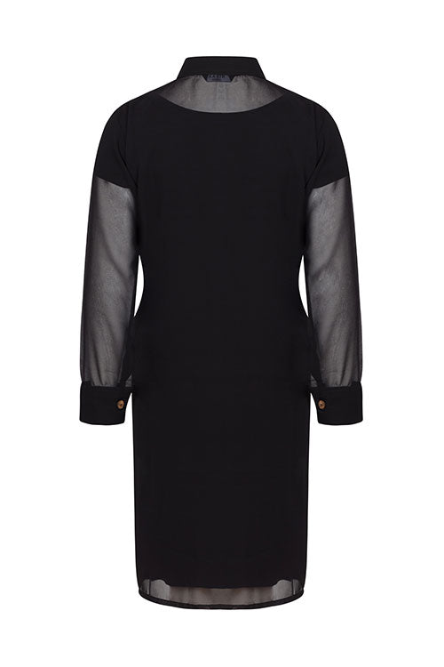 Pleated-Front Long Black Shirt
