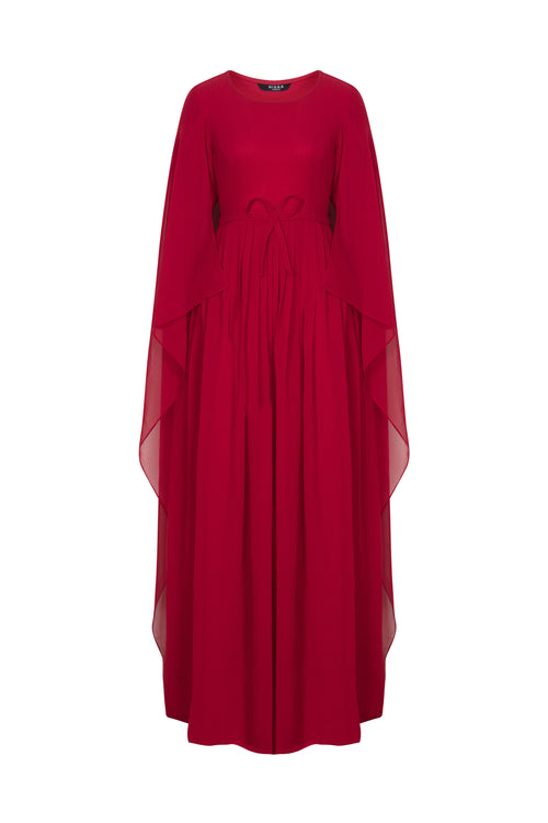 Red Draped-Cape Gown