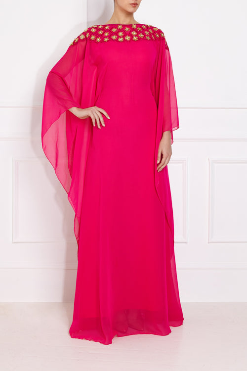 Gold Flower Pink Kaftan