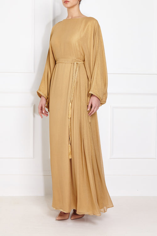 Gold Metallic Pleated Gown