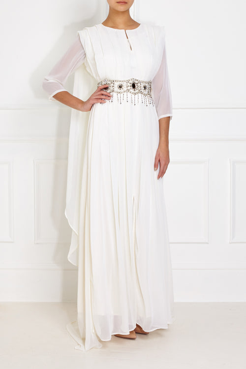 Silver Embellished White Gown