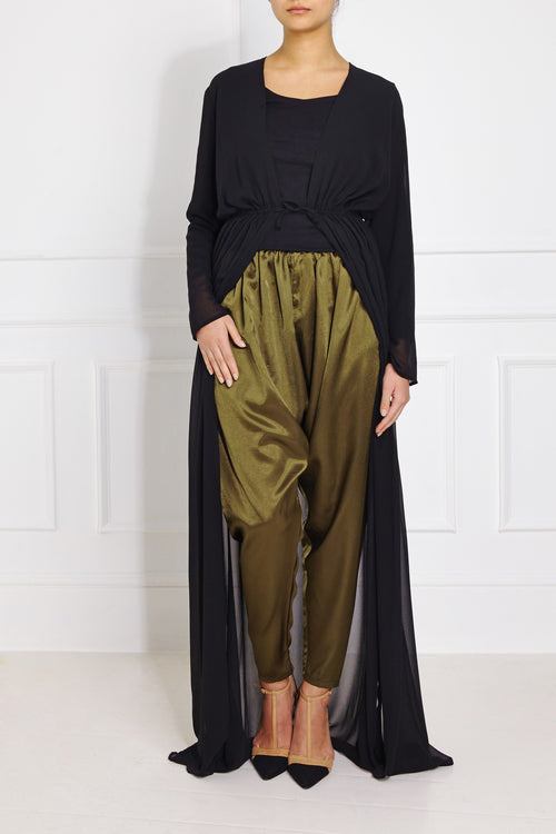 Pleated Satin Tapered Pants