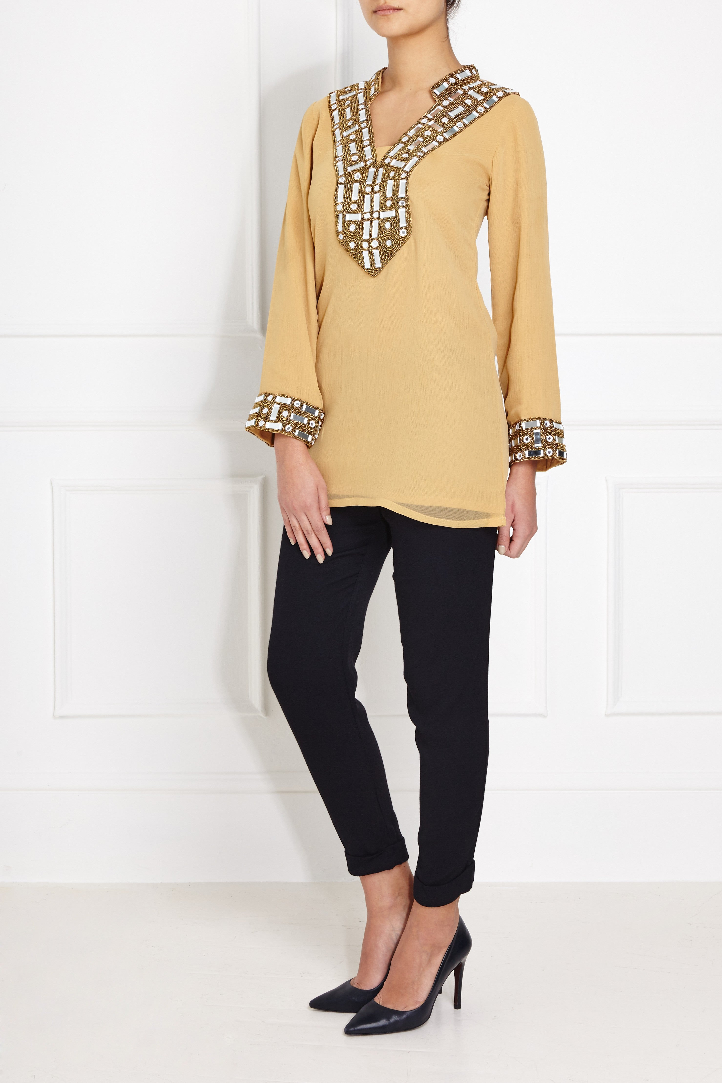 Beige Bead Embellished Blouse