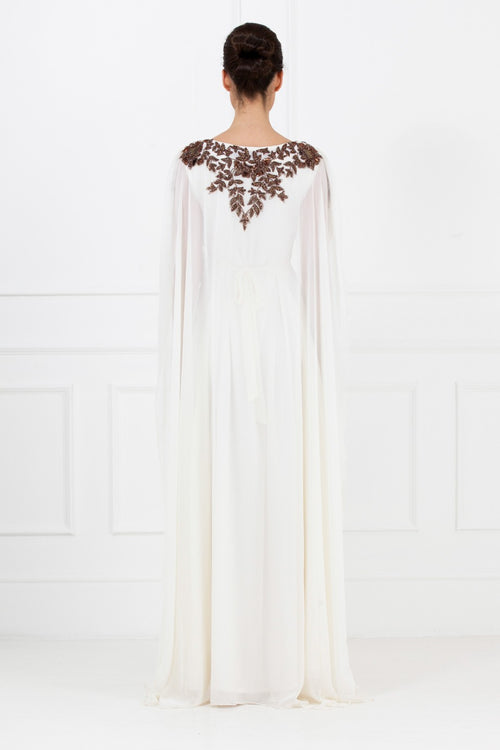 Bronze Embellished White Gown