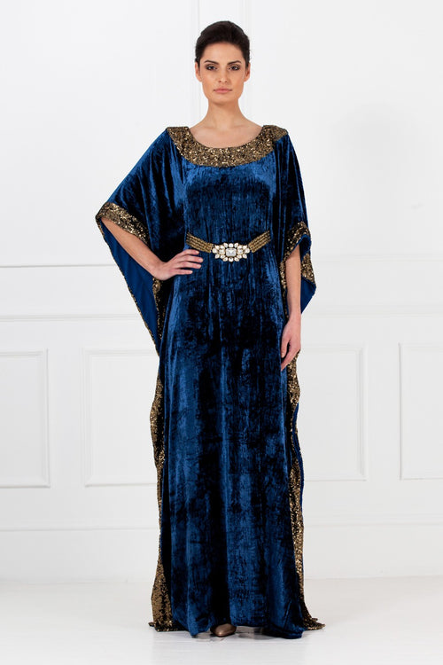 Navy Velvet Embellished Gown