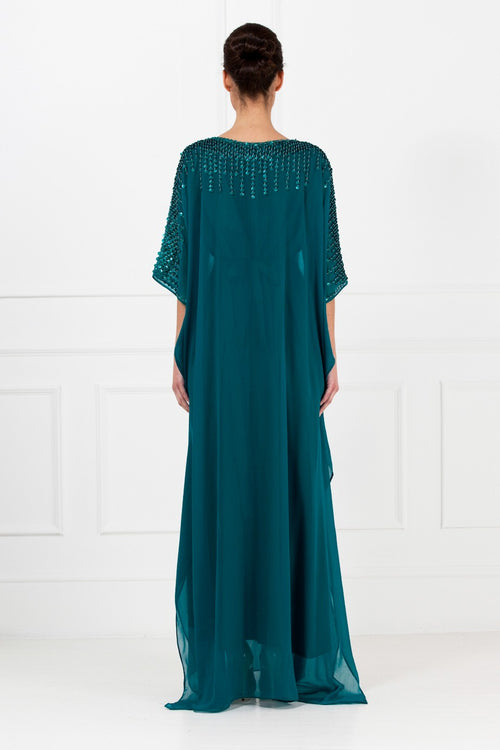 Green Beaded Chiffon Kaftan