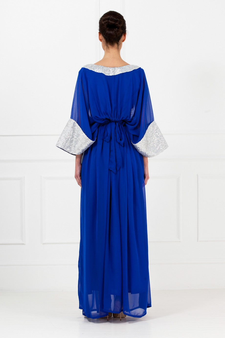Royal Blue Bell Sleeves Gown