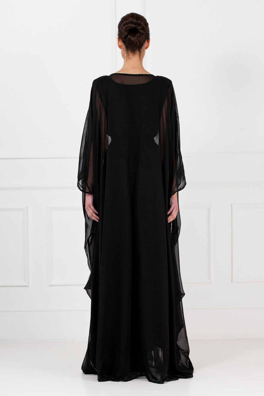 Black Pleated Chiffon Gown