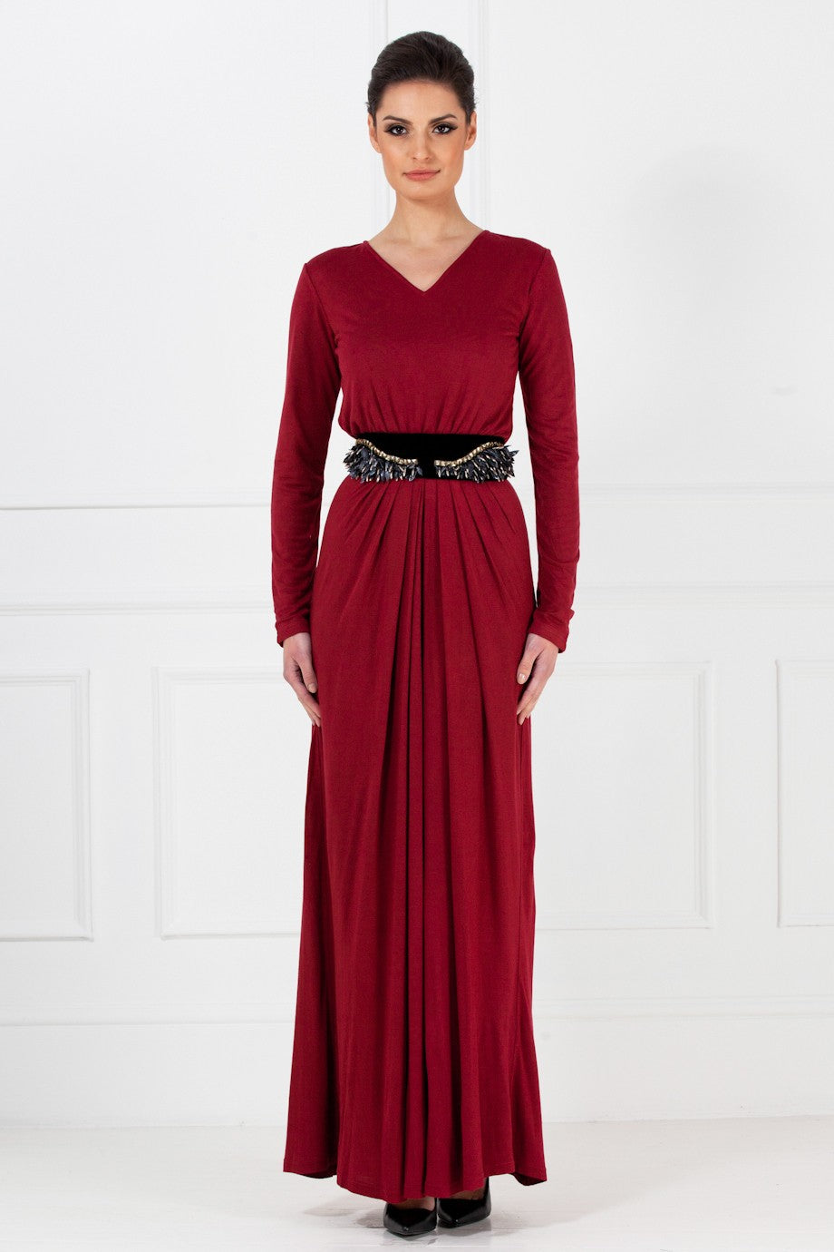 Deep Maroon Jersey Dress