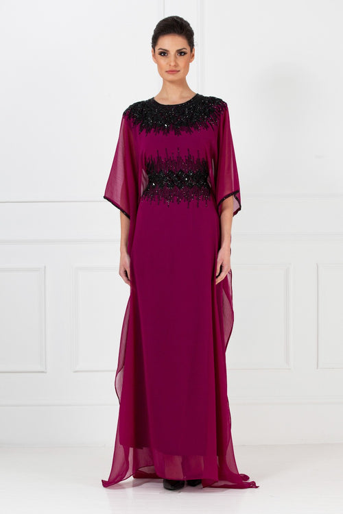 Deep Purple Embellished Kaftan