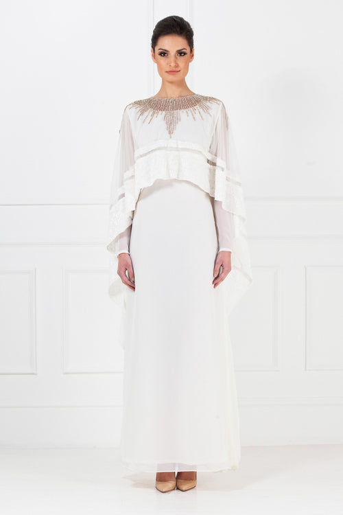 White Embellished Net Cape Gown