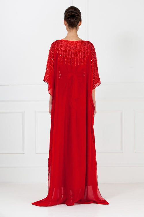 Deep Red Embellished Chiffon Kaftan