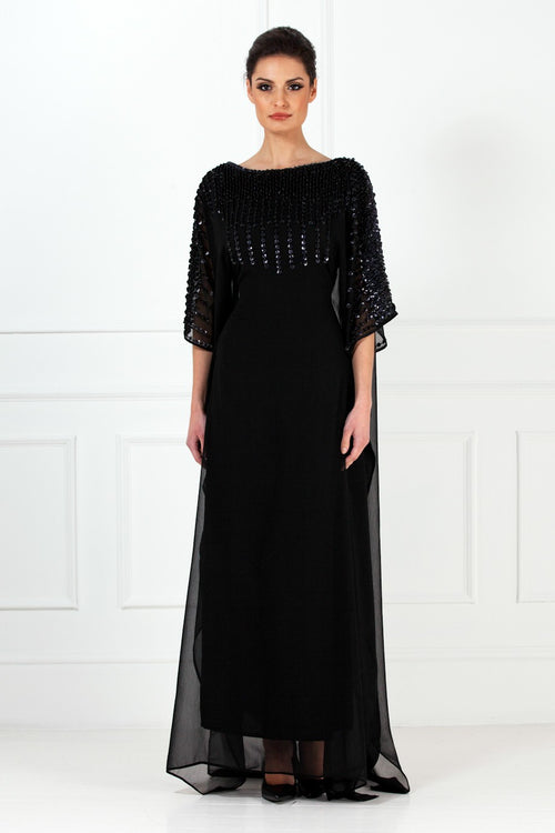 Black Shell Embellished Chiffon Kaftan