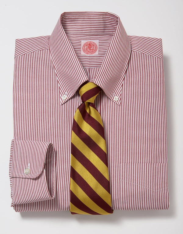 RED/WHITE CANDY STRIPE BROADCLOTH DRESS SHIRT