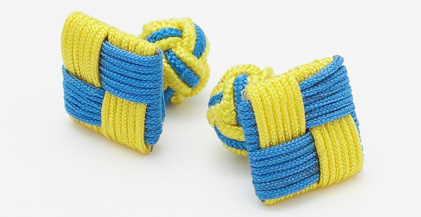 SILK KNOTS SQUARE - BLUE/YELLOW