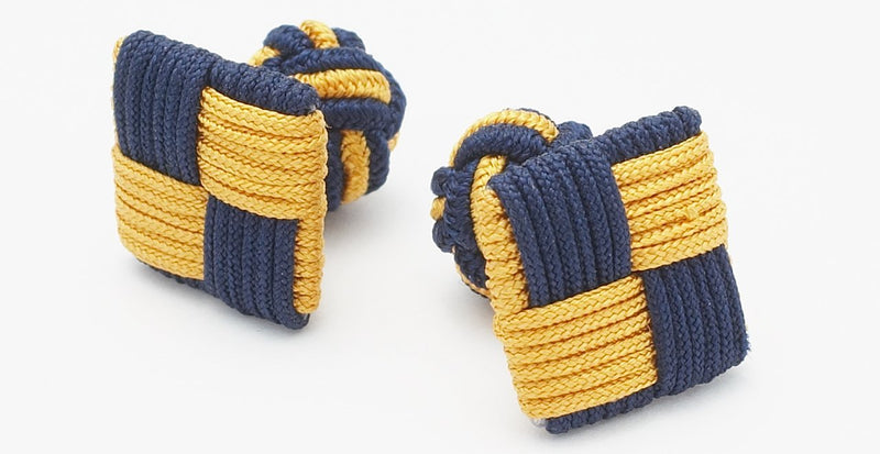 Silk Knots Square Navy Gold