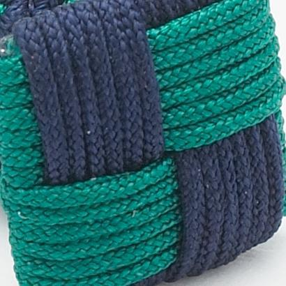 Silk Knots Square Navy Green