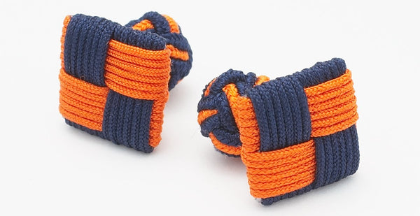 Silk Knots Square Navy Orange