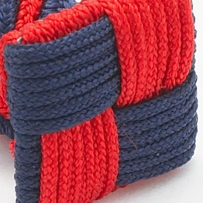 Silk Knots Square Navy Red