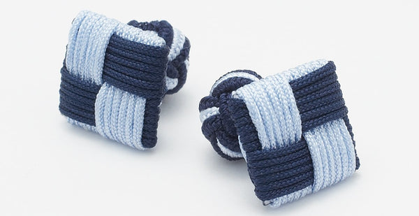 SILK KNOTS SQUARE  NAVY/SKY BLUE