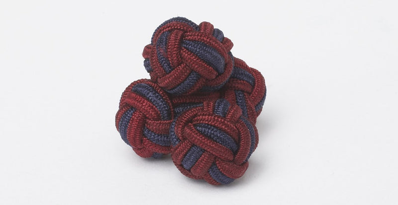Silk Knots Round X Round Navy Burgundy