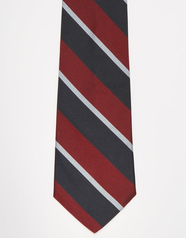 REGIMENTAL TIE - NAVY/BURGUNDY/SILVER