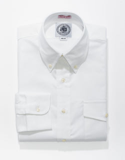 WHITE OXFORD W/ FLAP BUTTON DOWN SHIRT - TRIM FIT