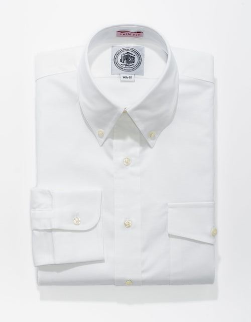 WHITE OXFORD W/ FLAP - TRIM FIT