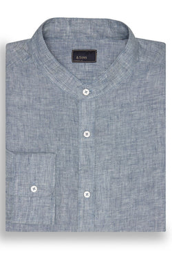 & SONS GARMENT CO. BANDED COLLAR LINEN SHIRT - INDIGO