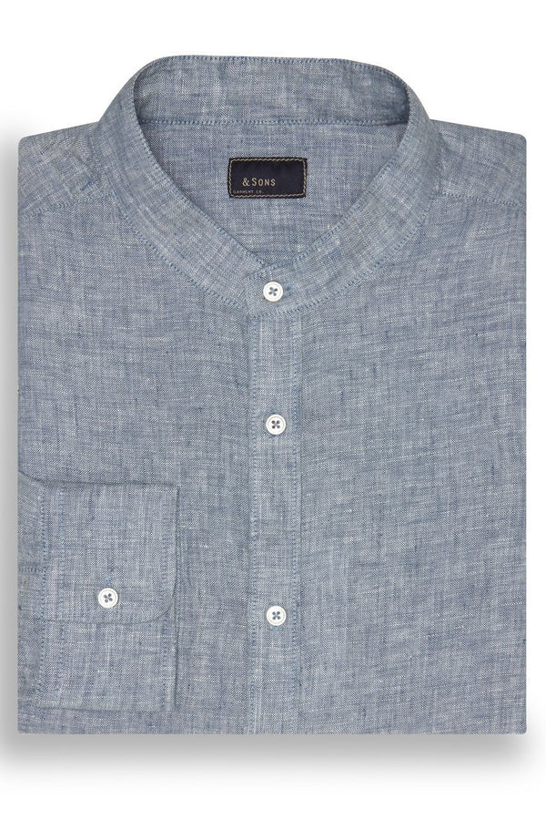 & SONS BANDED COLLAR LINEN SHIRT - INDIGO