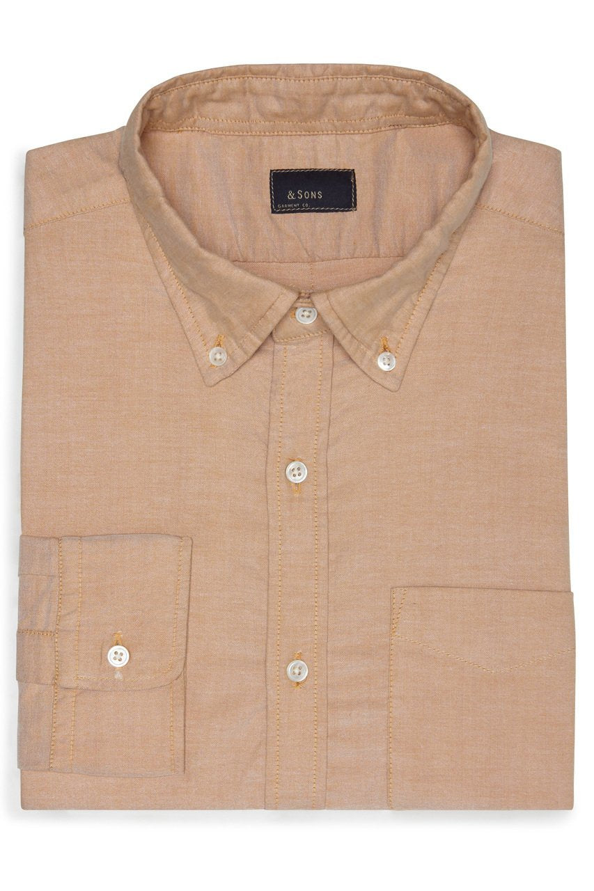 & SONS GARMENT PINPOINT OXFORD SHIRT - ORANGE